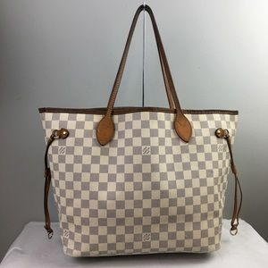 Louis Vuitton Neverfull MM Azur Tote Purse handbag